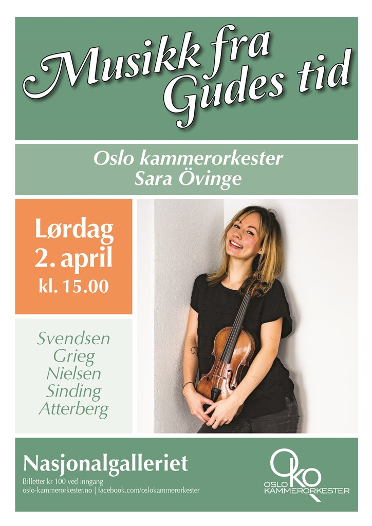 Plakat for konsert med Oslo kammerorkester og Sara Övinge 2. april 2016