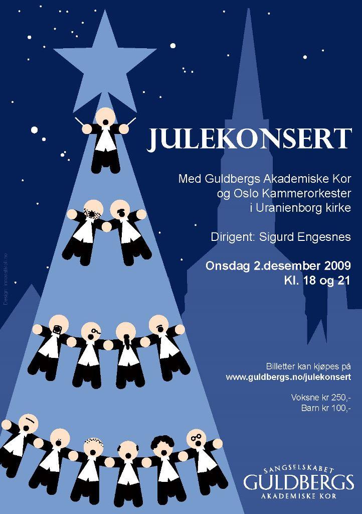 Plakat for julekonsert med Oslo kammerorkester og Guldbergs Akademiske Kor 2. desember 2009