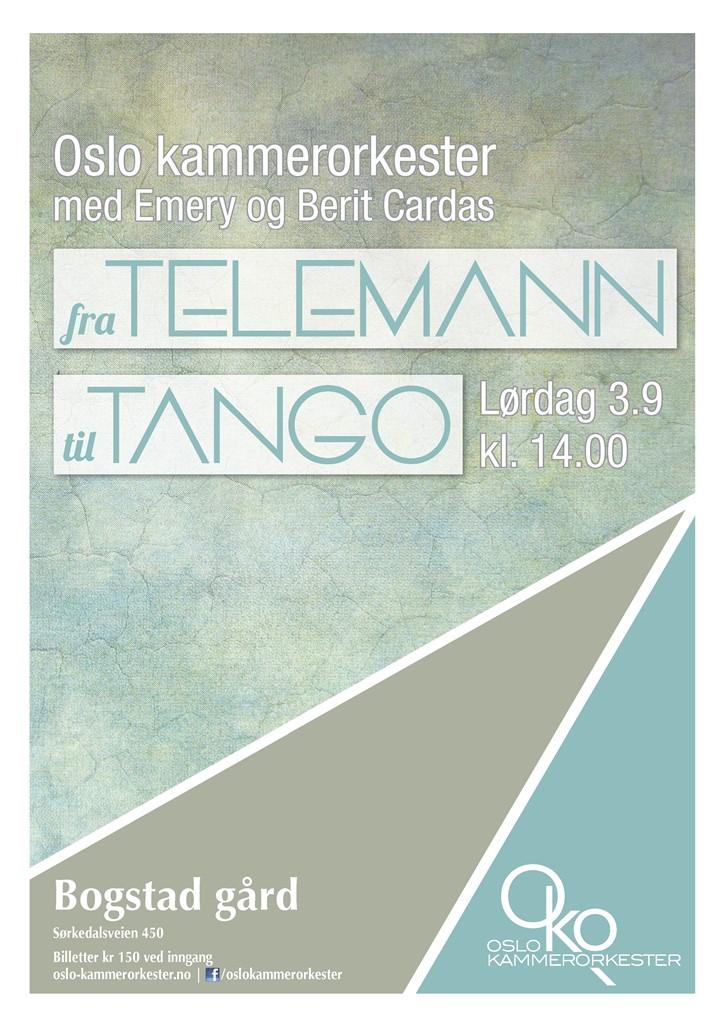 Plakat for konserten Fra Telemann til tango med Oslo kammerorkester 3. september 2016