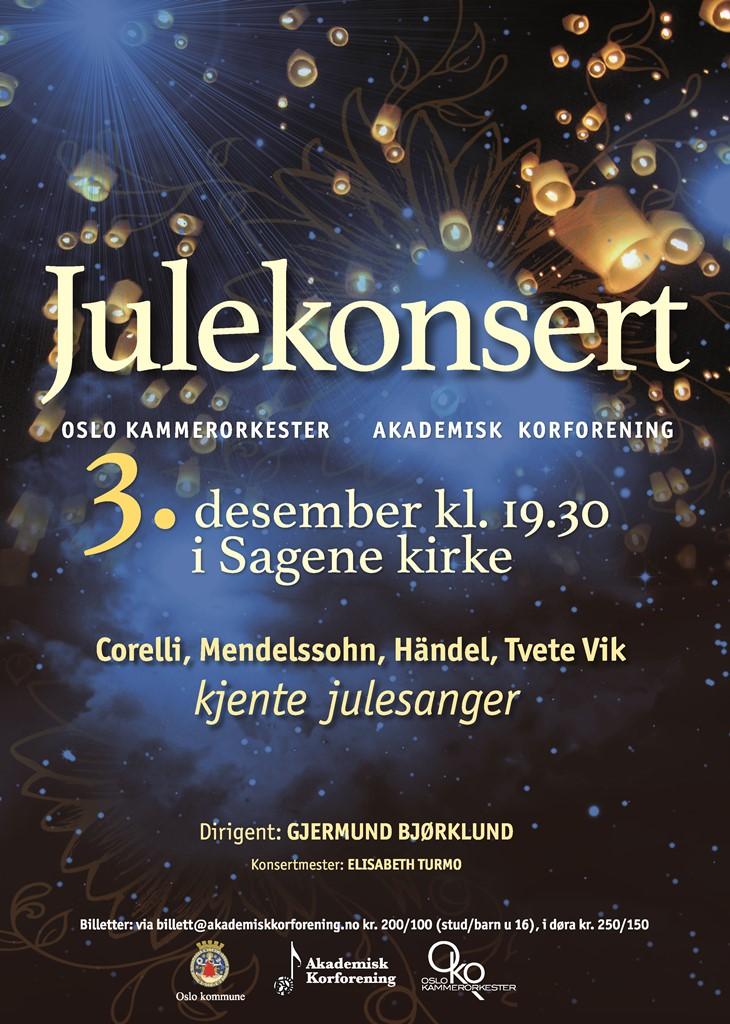 Plakat for konsert med Oslo kammerorkester og Akademisk Korforening 3. desember 2014