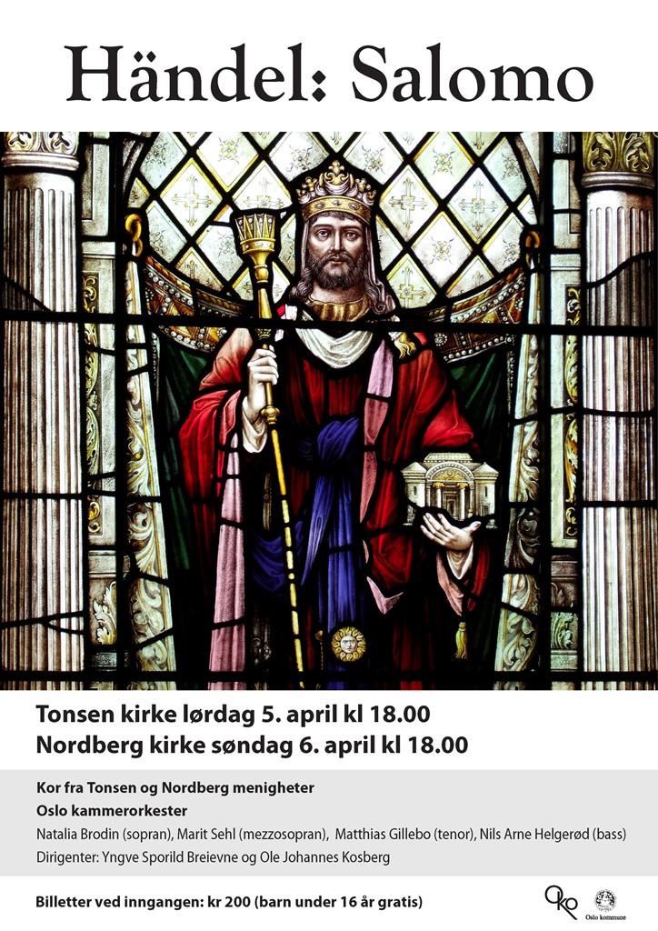 Plakat for konsert med Oslo kammerorkester og kor fra Tonsen og Nordberg 5. og 6. april 2014