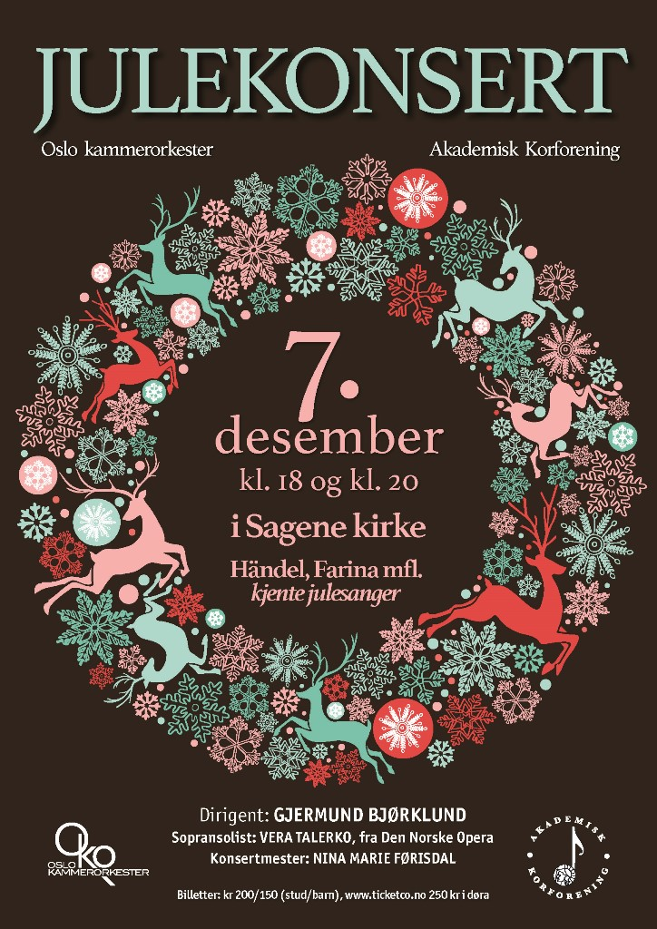 Plakat for konsert med Oslo kammerorkester 7. desember 2016