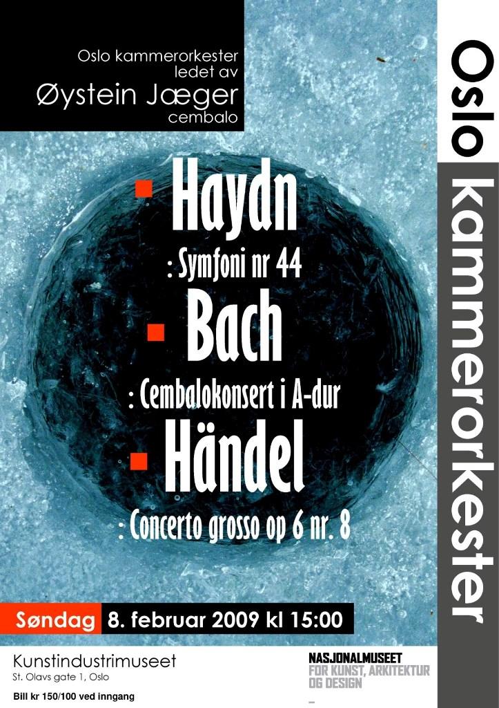 Plakat for konsert med Oslo kammerorkester 8. februar 2009