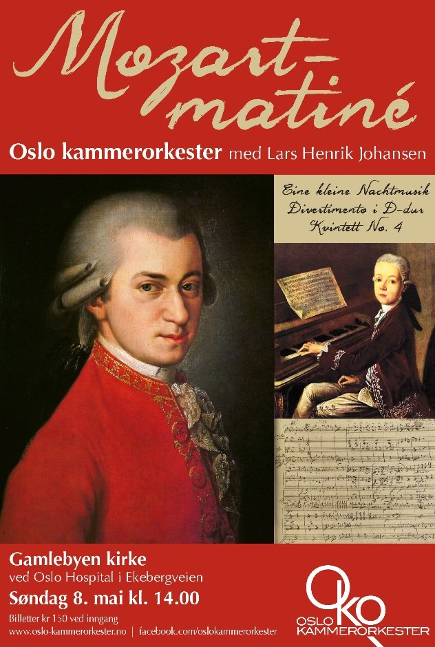 Plakat for Mozart-matiné med Oslo kammerorkester 8. mai 2016