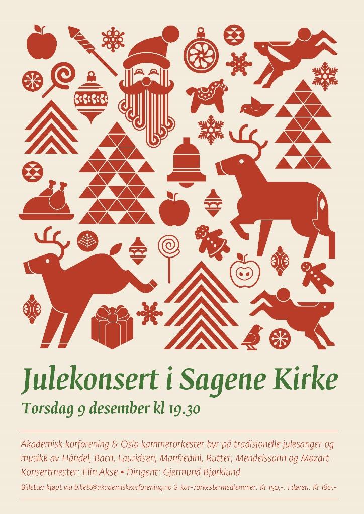 Plakat for konsert med Oslo kammerorkester og Akademisk Korforening 9. desember 2010