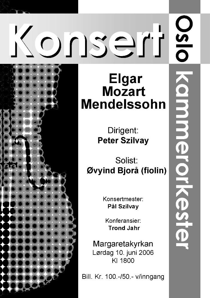 Plakat fra konsert med Oslo kammerorkester 10. juni 2006