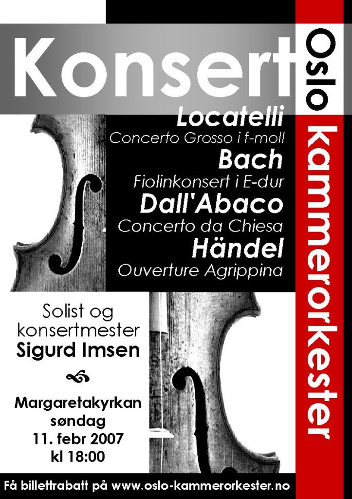 Plakat for konsert med Oslo kammerorkester 11. februar 2007