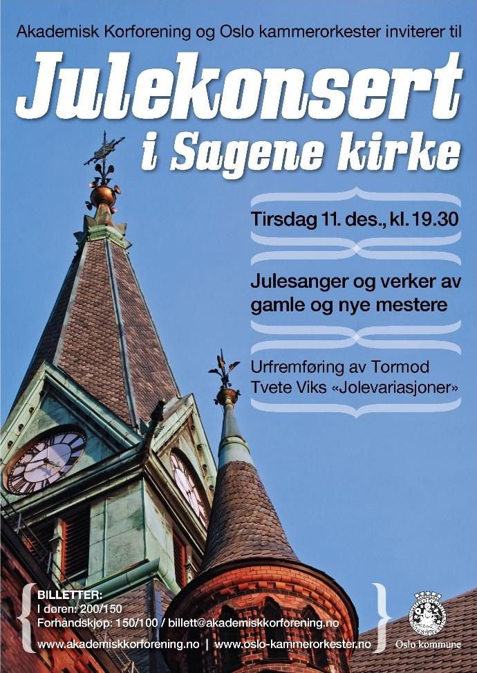 Plakat for julekonsert med Oslo kammerorkester og Akademisk Korforening 11. desember 2012