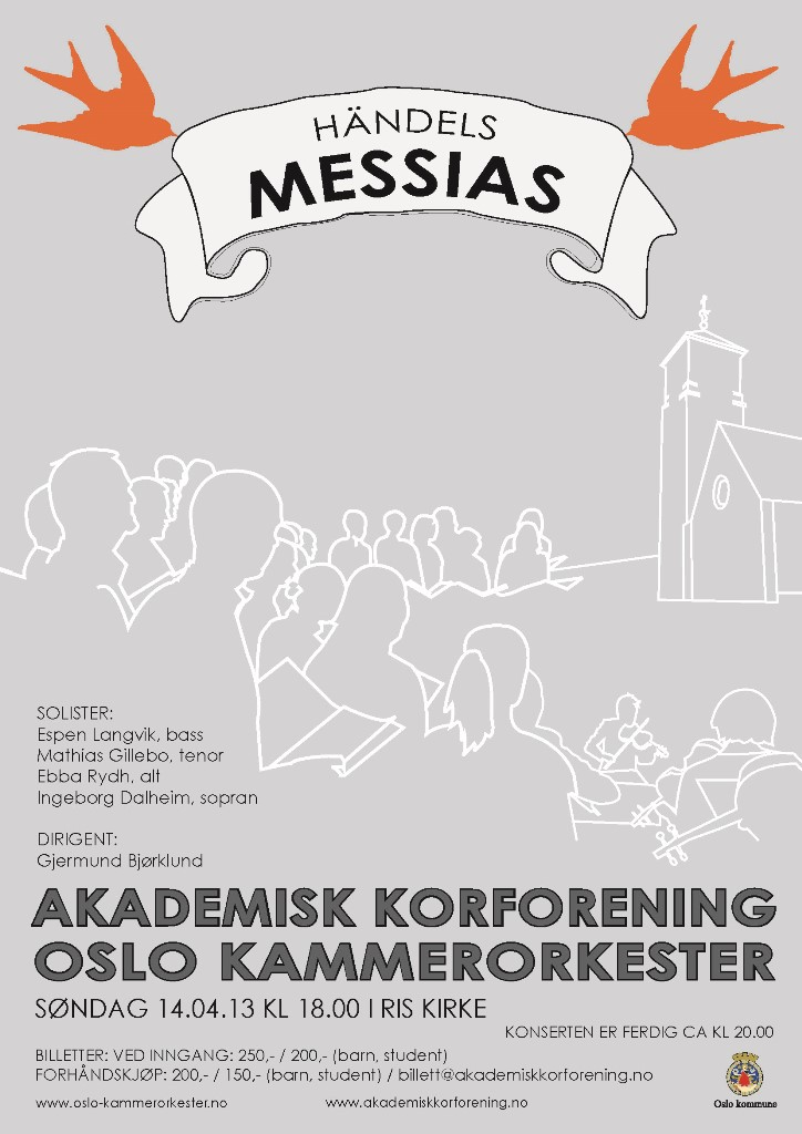 Plakat for konsert med Oslo kammerorkester og Akademisk Korforening 14. april 2013