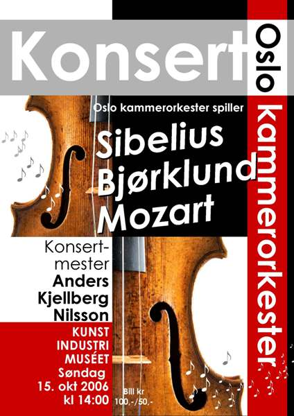 Plakat for konsert med Oslo kammerorkester 15. oktober 2006