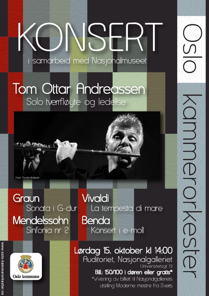 Plakat for konsert med Oslo kammerorkester 15. oktober 2011