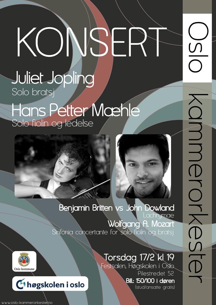 Plakat for konsert med Oslo kammerorkester 17. februar 2011
