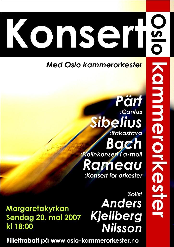 Plakat for konsert med Oslo kammerorkester 20. mai 2007