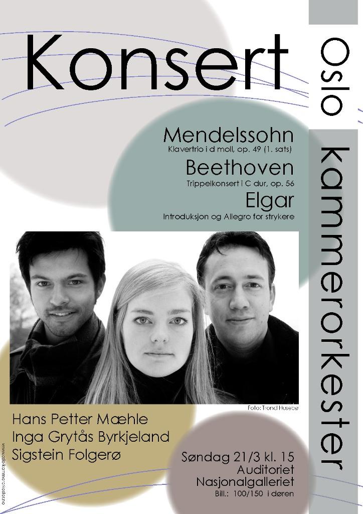Plakat for konsert med Oslo kammerorkester 21. mars 2010