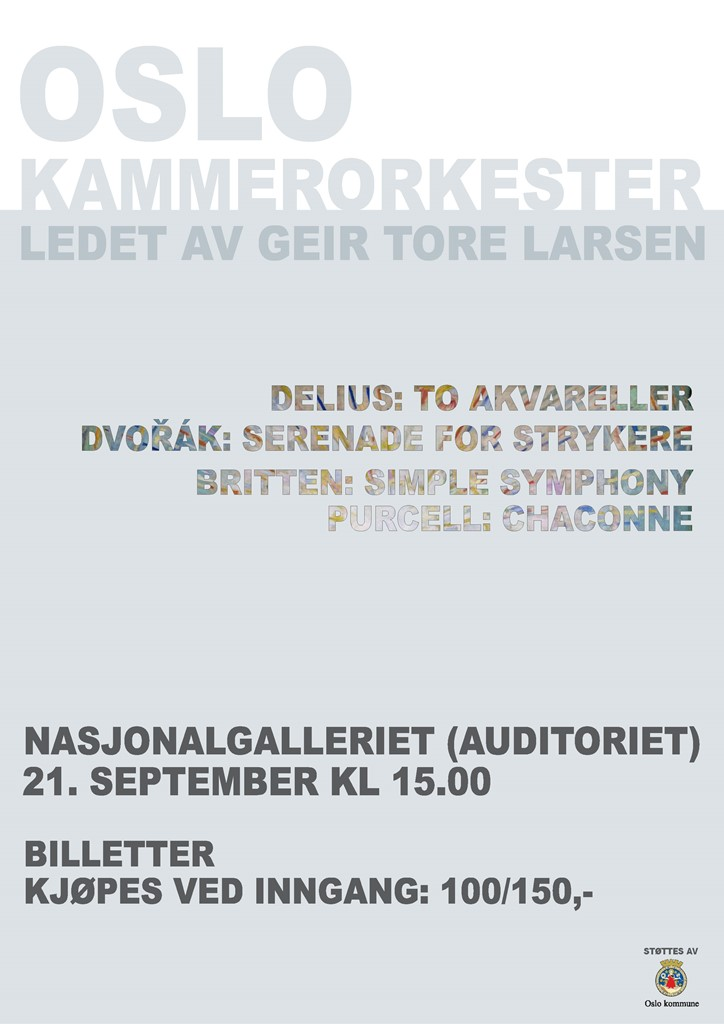 Plakat for konsert med Oslo kammerorkester 21. september 2013