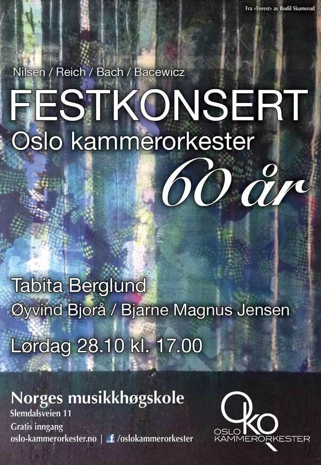 Plakat for konsert med Oslo kammerorkester 28. oktober 2017