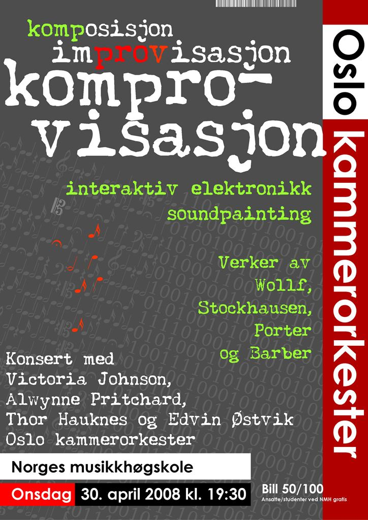 Plakat for konsert med Oslo kammerorkester 30. april 2008